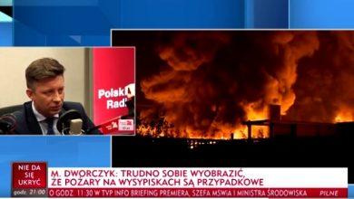 Na posiedzeniu rządu informacja ministra środowiska ws. pożarów wysypisk śmieci (fot.TVP Info)