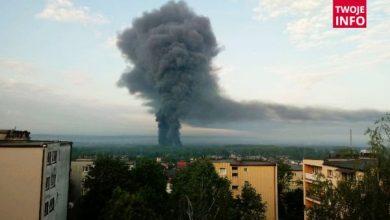 Potężny pożar składowiska w Trzebini! Wygląda jak po wybuchu atomowym! (fot.TVP Info/Twoje Info)