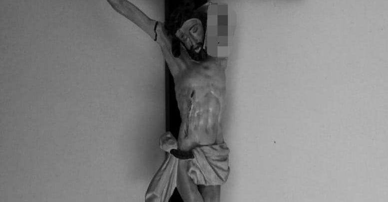 Maczetą zniszczyli XVIII-wieczną rzeźbę sakralną. Dwóm mieszkańcom Nysy grozi do 8 lat więzienia (fot.Policja Opolska)