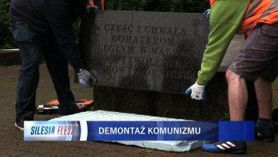 To ostatnie chwile pomnika żołnierzy radzieckich w Dąbrowie Górniczej. Trwa jego demontaż [WIDEO] (fot.mat.TVS)
