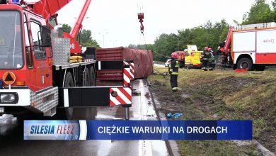Ciężarówka przewróciła się na DTŚ. To trzeci taki przypadek w ciągu miesiąca [WIDEO] (fot.mat.TVS)