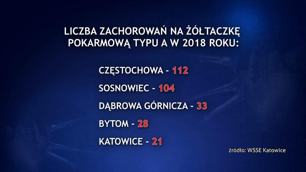 Najwięcej zachorowań jest w Częstochowie, na drugim miejscu znajduje się Sosnowiec, gdzie odnotowano ich ponad 100