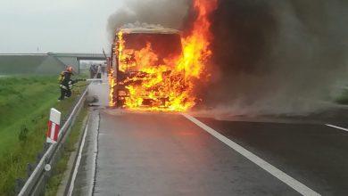 Pożar autokaru na A4 [ZDJĘCIA] (fot.Policja Podkarpacka)