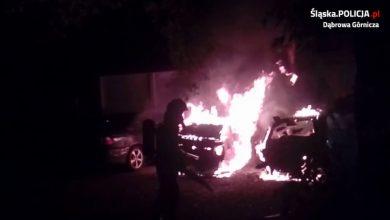 Pożar samochodów w Dąbrowie Górniczej [WIDEO, ZDJĘCIA] Auta spłonęły doszczętnie (fot.KMP Dąbrowa Górnicza)