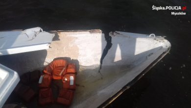 Skuter i motorówka zderzyły się na zbiorniku wodnym w Poraju (fot.KPP Myszków)