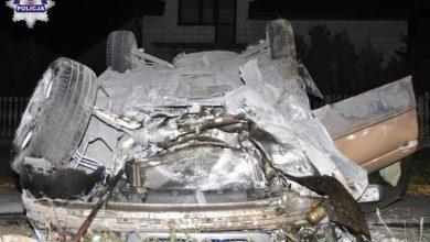 Kierowca BMW chciał ominąć lisa. To zostało z jego samochodu [ZDJĘCIA] (fot.Policja Lubelska)