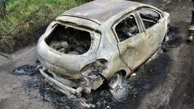 W Chełmie Śląskim koło zalewu Dziećkowice znaleziono spalony samochód a obok wiszące zwłoki mężczyzny (fot.OSP Chełm Śląski)