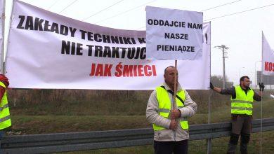 Protest podwykonawców w Żorach. Blokowali drogę, domagając się zaległych pieniędzy