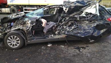Wypadek w Koziegłowach na skrzyżowaniu DK1 z Częstochowską. Ford wbił się pod TIRa (fot.OSP Koziegłowy)