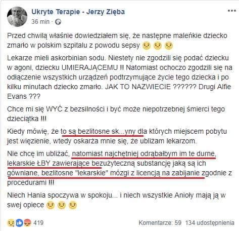 """Jerzy Zięba: """"odrąbałbym im te durne lekarskie łby"""""""