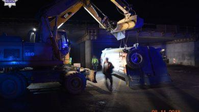 Kierowca ciężarówki uderzył w nowo budowany wiadukt [ZDJĘCIA] (fot.Policja Lubelska)