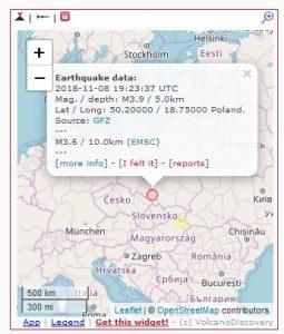 Jak podaje internetowy serwis https://www.volcanodiscovery.com wstrząs w czwartek, 8 listopada na Śląsku miał siłę ok. 3,9 stopnia w skali Richtera
