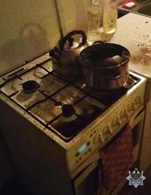 Zostawił garnek z olejem na gazie i zasnął. Prawie wyleciał w powietrze [ZDJĘCIA] (fot.Policja Wałbrzyska)