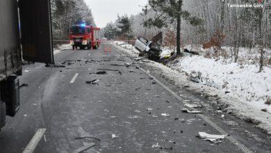 Śląskie: Tragiczny wypadek na DW 908. Samochód osobowy zderzył sięz ciężarówką [ZDJĘCIA] (fot.Śląska Policja)