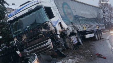 Groźny wypadek na DK 78 w Porębie! [ZDJĘCIA] Zderzyły się dwie ciężarówki (KMP Zawiercie)