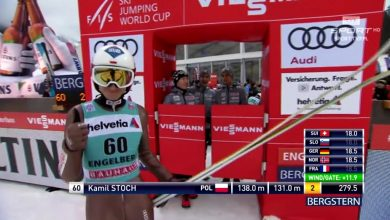 Piotr Żyła, Kamil Stoch i Ryoyu Kobayashi rozegrali między sobą walkę o zwycięstwo w niedzielnym konkursie Pucharu Świata w Engelbergu (fot. TVP)