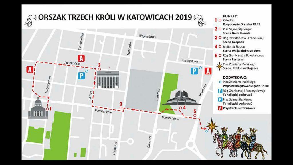 Orszak Trzech Króli w Katowicach rozpocznie się przed katedrą Chrystusa Króla i przemaszeruje między innymi ulicami: Jagiellońską, Lompy i Powstańców