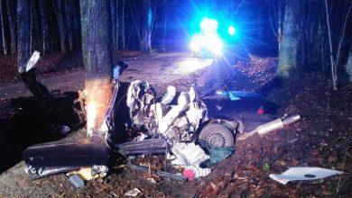 BMW owinęło się wokół drzewa [ZDJĘCIA] Kierowca zginął na miejscu (fot.Policja Warmińsko-Mazurska)