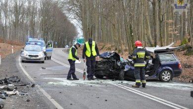 Czołowe zderzenie renault megane z passatem. Nie żyje 2-miesięczne dziecko (fot. KWP Gdańsk)