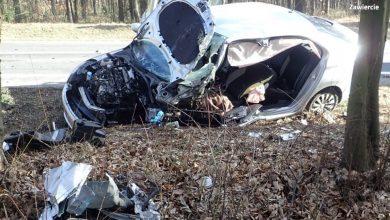Dwie osoby ciężko ranne. Koszmarny wypadek na DK 78 pod Zawierciem (fot.KPP Zawiercie)