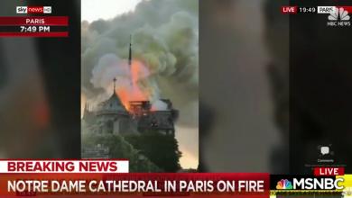 Pożar katedry Notre Dame wybuchł w poniedziałek, 15 kwietnia popołudniu. Z ogniem, który trawi zabytkową katedrę Notre Dame walczą strażacy (fot.youtube.com/NBC News)