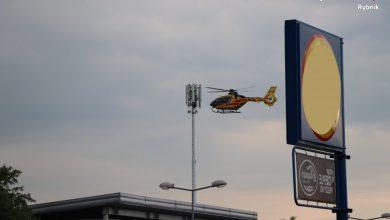 Wybuch gazu w Rybniku! Poparzoną młoda kobioetę zabrał helikopter LPR (fot. KMP Rybnik)