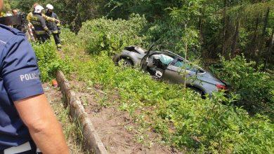 Tragiczny wypadek w Dąbrowie Górniczej. Nie żyje kierowca BMW X6 (fot.Śląska Policja)