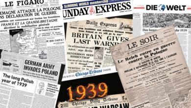 80. rocznica wybuchu II Wojny Światowej: Największe gazety na całym świecie drukują dzisiaj wojenne nagłówki