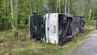 Wypadek autokaru. Dzieci jechały na szkolną wycieczkę. 12 osób trafiło do szpitala (fot.Policja Mazowiecka)