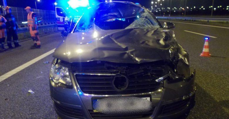 Wypadek, w którym zginął policjant miał miejsce w piątek, 13 września około godziny 23.00 na autostradzie A4 w Gliwicach (fot.KMP Gliwice)