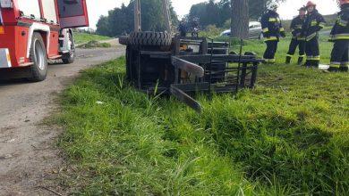 Groźny wypadek pod Gliwicami. W miejscowości łany Wielkie wózek widłowy przygniótł mężczyznę (fot.policja)