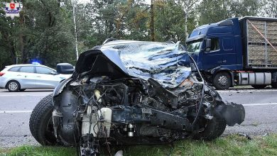 Wjechał w ciężarówkę [FOTO] Był pod wpływem alkoholu (fot. Policja Lubelska)