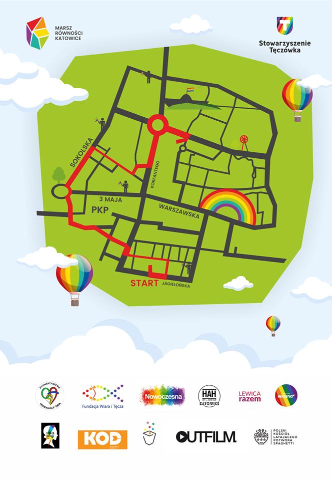 Marsz Równości w Katowicach. Zobacz mapę z trasą!