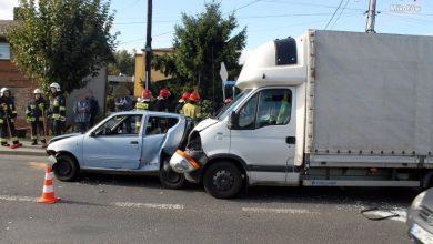 Śląskie: Karambol w Orzeszu. W centrum miasta zderzyło się pięć samochodów (fot.KPP Mikołów)
