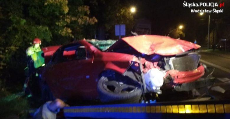 Śląskie: Koszmarny wypadek pijanego 24-latka! Auto jest kompletnie zmiażdżone! (fot.policja)