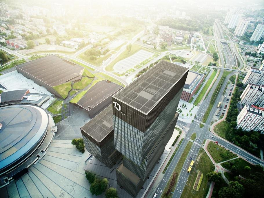 Rozpoczyna się budowa .KTW II w Katowicach. Budynek będzie miał 133 metry (wizualizacja twitter.com/TDJ Estate)
