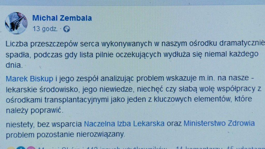 -Co się dzieje? - pyta Michał Zembala w swoim emocjonalnym wpisie i bije na alarm - dramatycznie spada liczba przeszczepów serca!