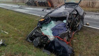 Czołowe zderzenie audi z tirem [ZDJĘCIA] Kierowca osobówki zginął na miejscu (fot. Policja Lubelska)