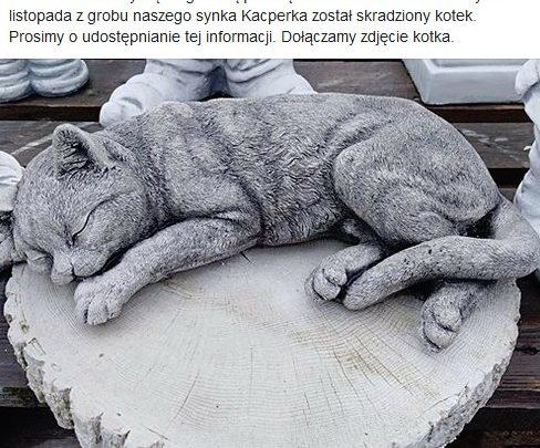 TO OKROPNE!!! Ktoś ukradł figurkę kota z grobu 8-letniego Kacpra! Złodzieja szuka cały internet! (fot.facebook)