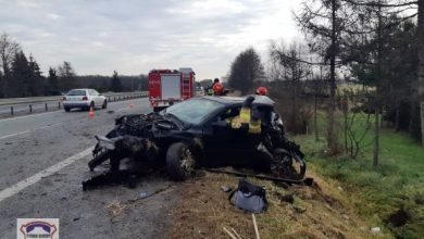 Koszmarny wypadek na S1 w Tychach. Z auta prawie nic nie zostało! (fot.www.112tychy.pl)