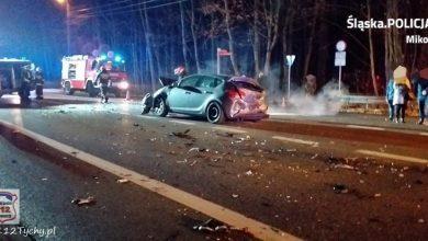 Śląskie: Groźny wypadek na DK44 [ZDJĘCIA] Do szpitala trafiła kobieta w ciąży, dziecko oraz sprawca ze złamanym kręgosłupem (fot.KPP Mikołów)