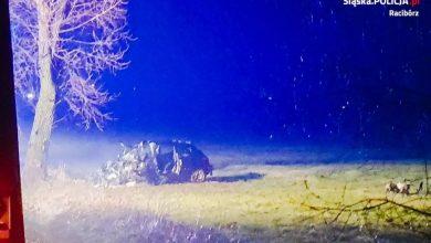 Tragiczny wypadek w Zerdzinach pod Raciborzem. W kompletnie zmiażdżonym samochodzie zginął 45-letni kierowca. (fot.policja)