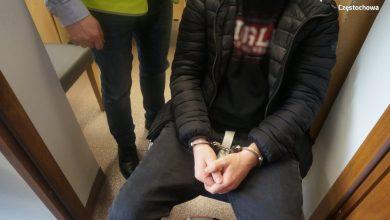 Jeden z zatrzymanych mężczyzn, który groził śmiercią obywatelce Ukrainy w pociągu. [fot. Śląska Policja]