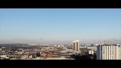 Kadr z krótkiego filmu autorstwa Lesława Nowaka przedstawiającego opustoszałe Katowice podczas epidemii COVID-19. [fot. Snapshot z filmu Katowice - The Silent City]