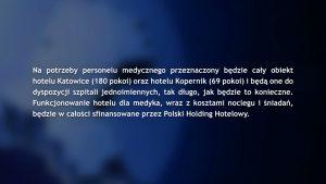 Hotel Katowice został przekształcony w hotel dla pracowników służby zdrowia. To kolejny obiekt należący do Polskiego Holdingu Hotelowego, który włączył się do akcji Hotel dla Medyków.