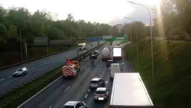 Ogromny korek na autostradzie A4 w Katowicach. To wynik groźnego wypadku, do którego doszło na A4 we wtorek, 5 maja (foto. katowice24.info)