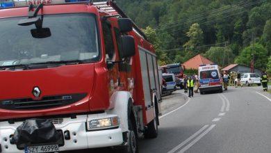 Śląskie: Tragiczny wypadek w Kocierzu Moszczanickim. Nie żyje motocyklista i pasażerka, która z nim podróżowała (fot.Śląska Policja)