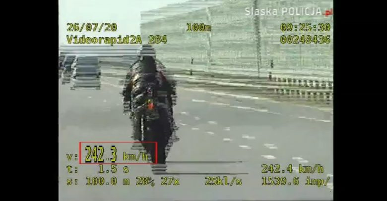 Gliwice: Motocyklista pruł po A1 242 na godzinę! Policjanci z grupy SPEED ledwo nadążali (fot.policja)