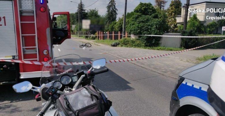 Śląskie: Śmiertelny wypadek rowerzysty! Motocyklista był pijany, po narkotykach i bez prawka (fot.KWP Katowice)