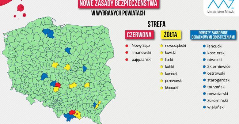 Aktualna lista powiatów z dodatkowymi obostrzeniami. Jeden powiat z woj. śląskiego w strefie żółtej (fot.MZ)